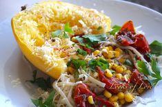Spaghettikürbis aus dem Backofen, vegetarisches Rezept Blog, Beauty, Gluten Free Diet, Vegetarian Diets, Recipes With Pumpkin, Dried Tomatoes, Good Food, Healthy Food, Oven