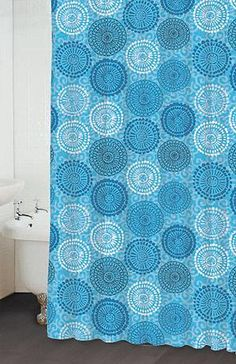 Malta Shower Curtain  Item #: 69574.  Love the blues in this.  Maybe would use two