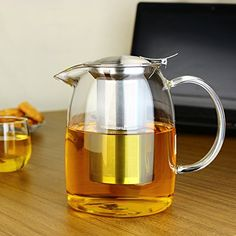 Aesthetic design: beautiful clear teapot body with handcrafted special design prevents dripping from the spout; prefect tightly covering lid are able to avoid the leaking problem after removing the filter; special stainless steel mesh infuser filter ensures the pure tea without loose tea. Different Types Of Tea, Tea Benefits, Evergreen Shrubs, Stainless Steel Mesh, Aesthetic Design, Kraut, Tea Pots, Pure Products, The Heat