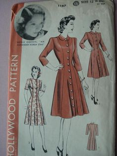 1940s FRONT BUTTON DRESS PATTERN HOLLYWOOD PATTERN MERLE OBERON
