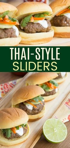 Thai Style Sliders - an easy recipe to infuse Asian flavors into fun mini beef burgers for a fun appetizer or dinner on the grill. Don't forget the cilantro lime cream sauce with a little kick of sriracha for spice! Spicy Recipes, Grilling Recipes, Beef Recipes, Great Appetizers, Appetizer Recipes, Gluten Free Recipes For Dinner, Dinner Recipes, Healthy Snacks, Healthy Breakfasts