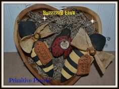 Grungy Primitive Bees and lady bug bowl filler by PrimitivePrairie, $12.98