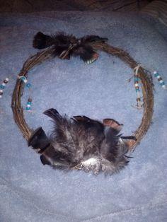 Handmade Grapevine Wreath w/ Feathers, Beads, & Suede Leather w/ Armadillo  #Handmade