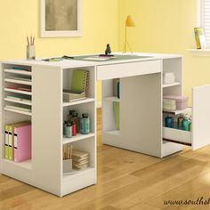 "Crea Craft Table: Features: Central drawer, side drawer, deep sliding compartment with sliding shelf, and open storage spaces, adjustable shelves Dimensions: 30"" H x 53.5"" W x 23.6"" D"