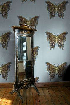 Timorous Beasties Butterfly Wallpaper in grey & gold, contemporary version of a traditional design