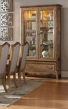Chambord Modern Champagne Gold Wood Glass Buffet
