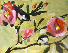 chickadees and camellias original painting by moulton 11 x 14 inches by prattcreekart on Etsy https://www.etsy.com/listing/106928168/chickadees-and-camellias-original
