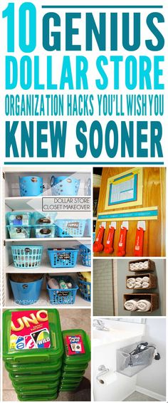 These are the BEST dollar store organization hacks I've ever seen! Glad to have found these amazing dollar store hacks, tips and tricks. Definitely pinning for later!!
