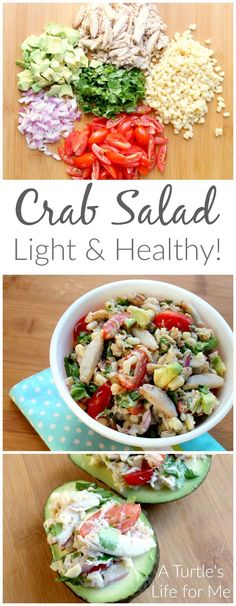 Crab Salad Recipe using fresh garden ingredients! So perfect for a light and healthy summer meal! Crab Salad Recipe using fresh garden ingredients! So perfect for a light and healthy summer meal! Healthy Summer Recipes, Healthy Salads, Healthy Eating, Healthy Foods, Sea Food Salad Recipes, Crab Recipes, Crab Salad Recipe Healthy, Recipes Dinner, Gourmet