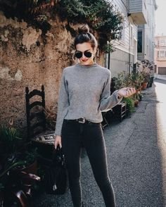 grey jeans and sweater