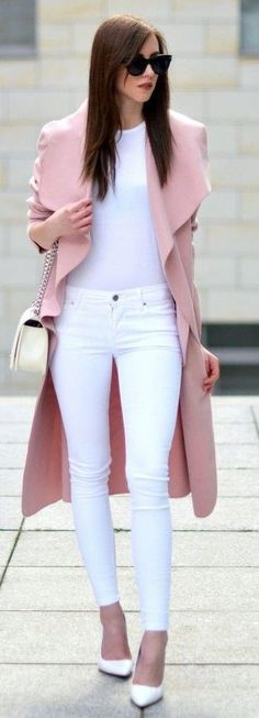 #streetstyle #casualoutfits #spring | Pink Trench + All White | Vogue Haus