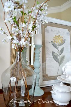 Adventures in Decorating: Our Refreshed Dining Room French Decor, French Country Decorating, Country French, Happy March, Italy House, Glass Jars, Rustic Decor, Farmhouse Style, Centerpieces