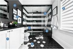 Scott McGillivray's Black and White Bathroom - Get the Look
