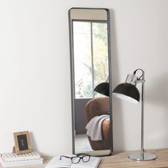 miroir en mtal noir h 90 cm copernic