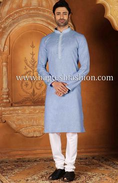 Partywear regular fit embroidered nehru collar pure cotton sky blue summer kurta paired with bottom as white polyester churidar pajama.