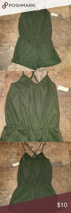 Green Lace Crochet Romper NEW with tags Green Lace Crochet Romper with adjustable cross back straps. Romper has elastic sinching around middle for multiple sizes and an hourglass shape. Adorable and lightweight! SAME OR NEXT DAY SHIPPING. Top rated posher. FREE gift when you purchase $15 Or more from my closet. Happy poshing! bobbie and brooks Pants Jumpsuits & Rompers