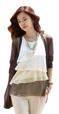AM CLOTHES Womens Flouncing Chiffon Tops Blouse Vest T-Shirt Brown X-Small