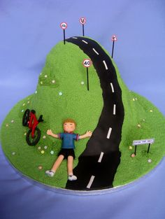 Mens Birthday Cake 'over The Hill' on Cake Central 40th Birthday Cakes For Men, 40th Cake, 40th Birthday Parties, Forty Birthday, Cake Birthday, 40th Party Ideas, 40th Bday Ideas, Birthday Ideas, Bicycle Cake
