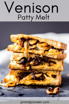 This venison patty melt is hands-down one of THE BEST venison sandwiches we have ever enjoyed! Juicy ground venison, topped with melty cheese and sweet Vidalia onions. You definitely don't want to miss out on this recipe! Reuben Sandwich, Best Sandwich, Ground Venison Recipes, Patty Melt Recipe, Philly Cheese Steak Sliders, Wild Game Recipes, What Recipe, Vidalia Onions, American Cheese