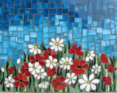 field of beautiful daisies and poppies. Storm is coming. The clouds are getting darker, while the flowers are still sparkling in the fields. This is that typical moment of total tranquillity before storm. Mosaic Tile Art, Mosaic Artwork, Mosaic Diy, Mosaic Garden, Mosaic Crafts, Mosaic Projects, Mosaic Glass, Mosaic Designs, Mosaic Patterns