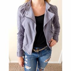 Calvin Klein Lavender Motorcycle Jacket Mint condition! Gorgeous light lavender color, size XS, would fit sizes 0-2 {maybe 4} Smoke/pet free home! Ask all questions before buying. No trades ❌ Bundle for a discount JUST REDUCED, FINAL PRICE!  Calvin Klein Jackets & Coats