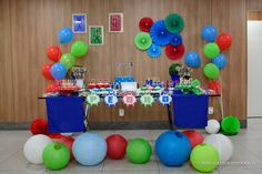 mesa decorada do pj masks