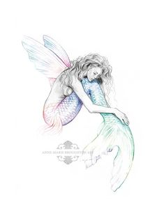 inch PRINT Mermaid's Drift Flying Fish Mermaid with Wings Art Rainbow Colour Splash Pencil Drawing Black and White Signed - inch SIGNED Mermaid's Drift Flying Fish Mermaid with - Mermaid Drawings, Mermaid Tattoos, Mermaid Sketch, Mermaid Tattoo Designs, Mermaid Paintings, Mutter Erde Tattoo, Pencil Drawings, Art Drawings, Tattoo Minimaliste