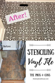 Painting & Stenciling Vinyl Flooring - The Pros & Cons - Flooring Painting Linoleum Floors, Painted Vinyl Floors, Linoleum Flooring, Diy Flooring, Plywood Floors, Stencil Vinyl, Vinyl Tiles, Stencil Painting, Stencils