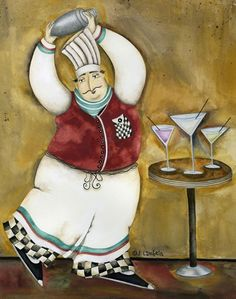 Chef illustration art by Jennifer Lambein Kitchen Artwork, Kitchen Prints, Decoupage, Chef Kitchen Decor, New Paint Colors, Fat Art, Chefs, Wine Art, Framed Prints