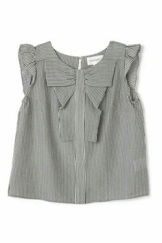 SheIn offers Vertical Striped Frill Trim Blouse & more to fit your fashionable needs. Tie Neck Blouse, Blouse Dress, Kids Outfits, Cool Outfits, Casual Outfits, Girl Fashion, Fashion Outfits, Fashion Design, Fashion Trends