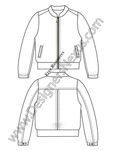 V22 Windbreaker Jacket Fashion Technical Drawing Template