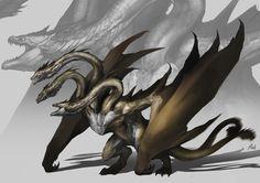 Legendary Godzilla, Kong, Rodan and King Ghidorah Monsterverse Fan Art! - Godzilla King of the Monsters Movie News Weird Creatures, Fantasy Creatures, Mythical Creatures, Godzilla Vs King Ghidorah, All Godzilla Monsters, Classic Monsters, Dragon Design, Dragon Art, Red Dragon