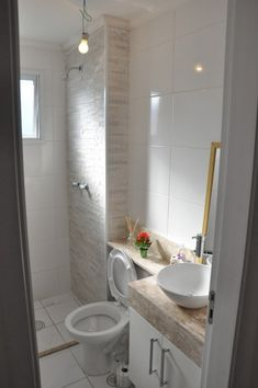 White bathroom with natural stone tile. don't want the square subway tile but like the shower and counter top. Downstairs Bathroom, Bathroom Layout, Bathroom Colors, White Bathroom, Small Bathroom, Bath Tiles, Room Tiles, Shower Tiles, White Counters