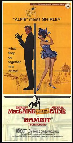 GAMBIT three sheet movie poster. Art by Robert McGinnis. Michael Caine. Shirley MacLaine