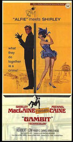 GAMBIT three sheet movie poster. Art by Robert McGinnis. Michael Caine. Shirley MacLaine