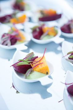 Bright, light, and flavorful. Rainbow beet salad with avocado crème fraiche and castelvetrano olives. These samplers were a part of the Ultimate Bites of L.A. menu for the Lexus Grand Avenue tasting. To learn more about our next culinary event, click through to the Lexus Drivers site.