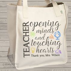 teacher tote bag, touching hearts personalized teacher gift