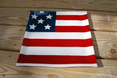 Fused Glass, American Flag, Patriotic, Red, White, Blue, Square, Tray, Unique, Glass, Gift, Gift Idea, USA, Fine Art, Serving, Handmade