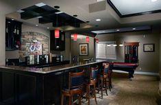 Brilliant basement wet bar cabinets ideas that look beautiful Small Basement Bars, Basement Sports Bar, Rustic Basement Bar, Basement Bar Plans, Basement Bar Designs, Modern Basement, Home Bar Designs, Basement Ideas, Small Basements