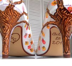 Wedding Shoes fall trees branches leaves initials by norakaren, $295.00