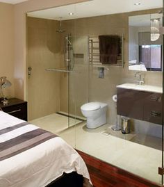 Glass Wall Great Idea For A Small Ensuite Not To Feel Enclosed Bathrooms