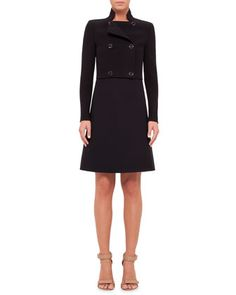 Camille Cropped Wool-Crepe Double-Breasted Jacket & Sleeveless Square-Neck Wool Dress by Akris at Bergdorf Goodman.