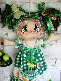 Купить Пакетница Зелёная Тыковка или Хранительница мелких вещиц. - интерьерная кукла, текстильная кукла
