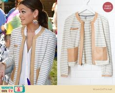 Zoe's striped leather trim jacket and pink and gold circular earrings on Hart of Dixie.  Outfit Details: http://wornontv.net/22359/ #HartofDixie