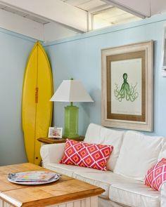 Surfboard in Living Room.