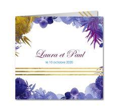 faire part mariage bouquet floral bleu et or