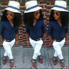Love the outfit, not sure about the hat and the sunglasses for kids though
