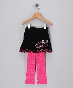 Look at this #zulilyfind! Black & Fuchsia Alyssa Skirted Leggings - Infant #zulilyfinds