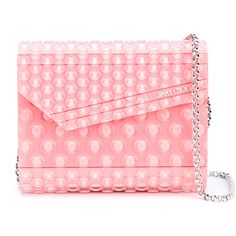 Jimmy Choo Candy Bubble Wrap Clutch Bag ($665) ❤ liked on Polyvore featuring bags, handbags, clutches, red crossbody, studded crossbody, box clutch, red box clutch and red cross body purse