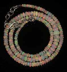 """39CRT 2-5.5 MM17"""" NATURAL ETHIOPIAN  WELO FIRE OPAL RONDELLE BEADS NACKLACE 9031"""
